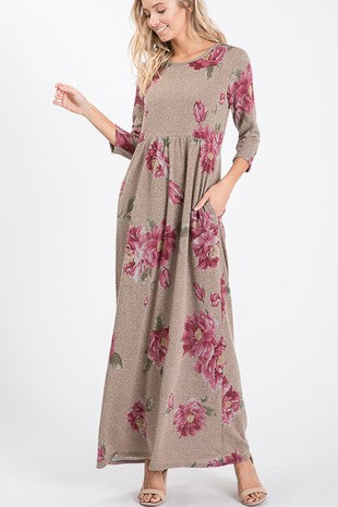 Floral Maxi Dress    3/4 Sleeves with side pockets