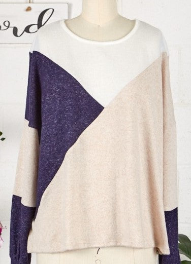 Colorblock Transition Sweater   Navy/Cream     Lightweight