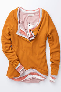 Cinnamon Waffle Knit Button Neck Long Sleeve Thermal    (Shown with 4 different shirts - only top shirt)