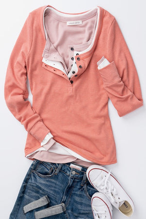 Misty Rose Waffle Knit Button Neck Long Sleeve Thermal    (Shown with 4 different shirts - only top shirt)