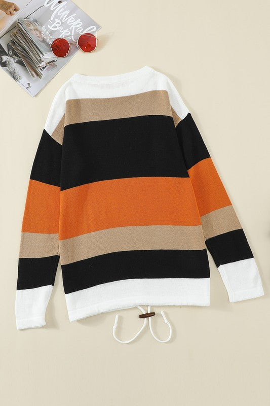 Color Block Round Neck Pullover Knit Top      Relaxed Fit    Small - 2 XL