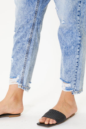 KanCan Plus High Rise Hem Detail Mom Jeans