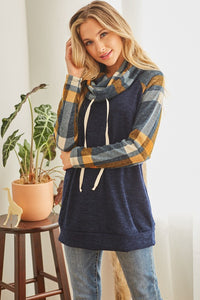 Navy cowl neck  with plaid contrast knit pullover