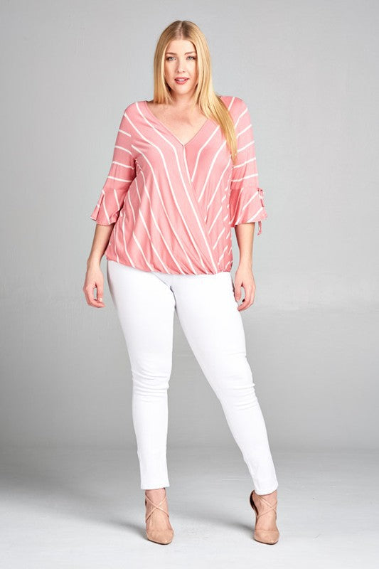 Plus Size Striped Jersey V Neck with Bell Sleeves