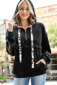 Solid Velour Material Animal Print Hoodie and Drawstring Pullover Zipper Front Pocket Sweater