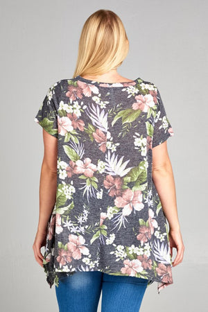 Plus Size Floral Topical Printed Tunic Top with Sharkbite Hem Detail