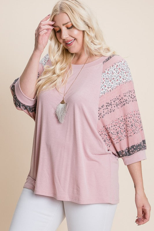 Plus Size Floral Dolman Sleeves Top