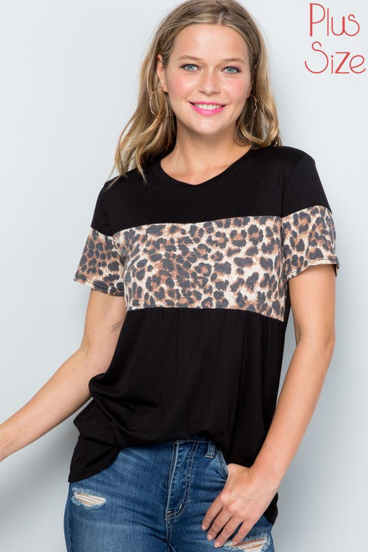 Plus Size Black Top with Trendy Leopard Colorblock