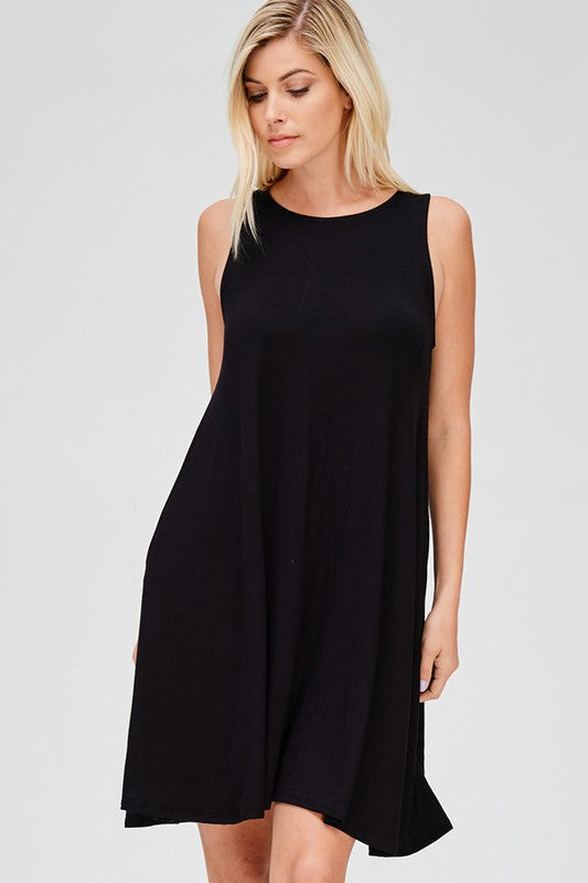 Black Solid Sleeveless loose fit Dress with Hidden Pockets