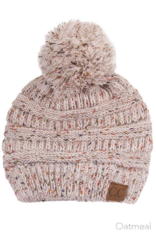 Oatmeal colored CC Ombre Beanie with Pom Pom