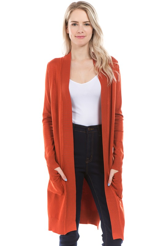 Rust Colored Long Open Front Cardigan with Pockets