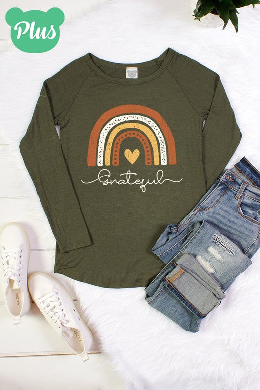 Plus Size  Grateful Heart, Rainbow Long Sleeve