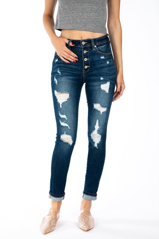 KanCan Gemma High Rise Super Skinny Distressed Button Up