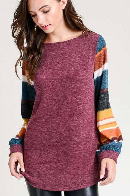 Long Sleeve Wine Colored with contrast sleeves