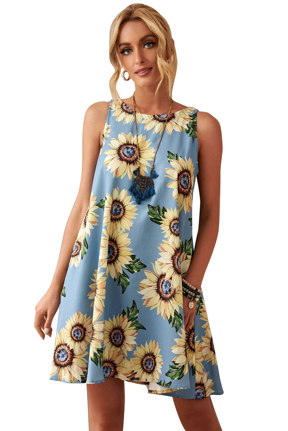 Blue Sunflower Print Tank Dress with side pockets