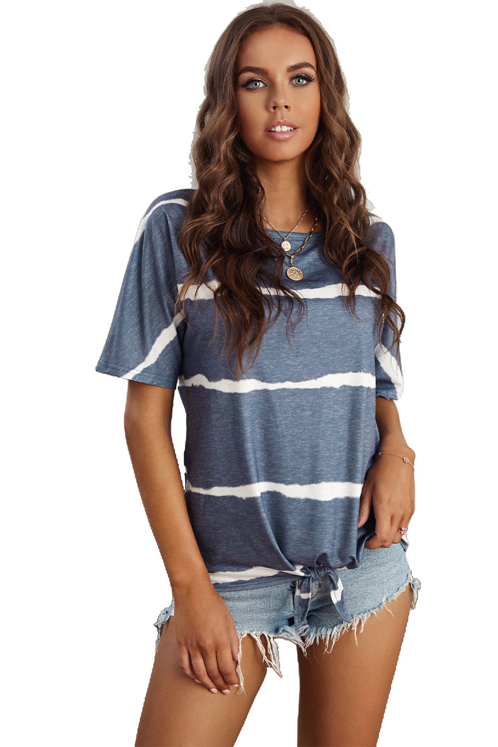 Tie-dye Print Loose T-shirt with tie in front