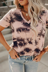Pink Tie-dye V Neck Top     Small to 2 XL