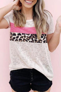 Round Neck Leopard Patchwork Tee          Small to 2 XL
