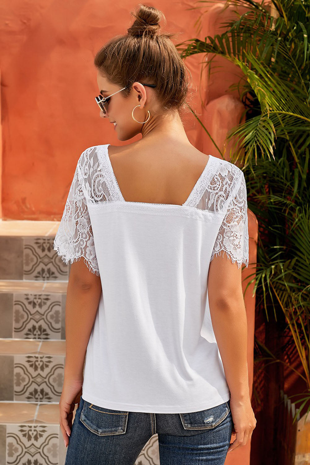 Plus Size  White Deep V Neck Top with Lace Sleeves