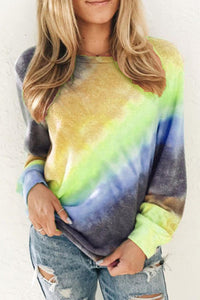 Ombre Yellow Tie-dye Long Sleeve Lightweight Sweatshirt   Small to 2 XL