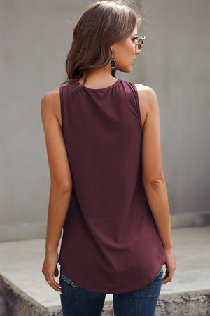 Wine Colored 3 Button Tank Top