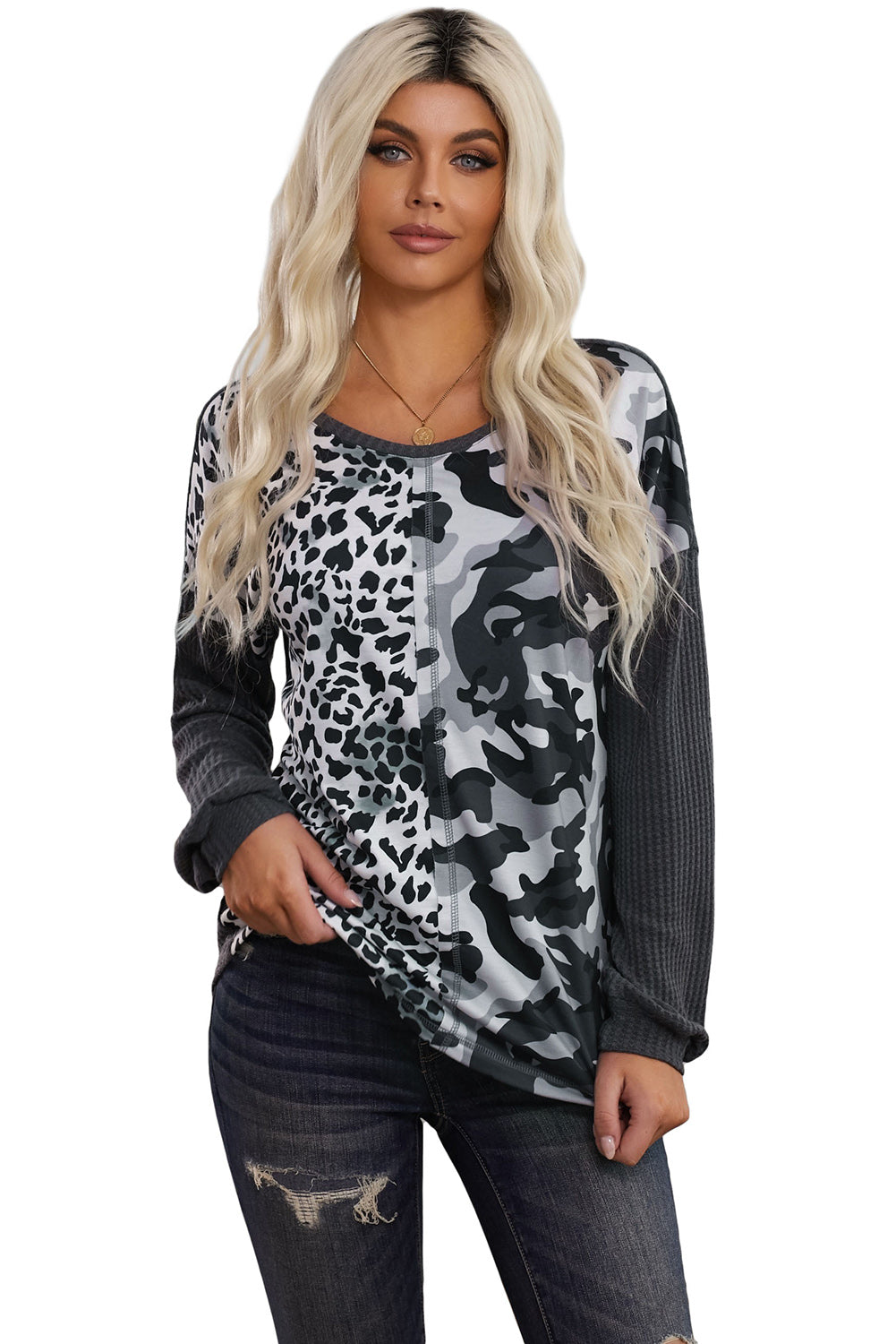 Gray Leopard & Camo Splicing Waffle Knit Top
