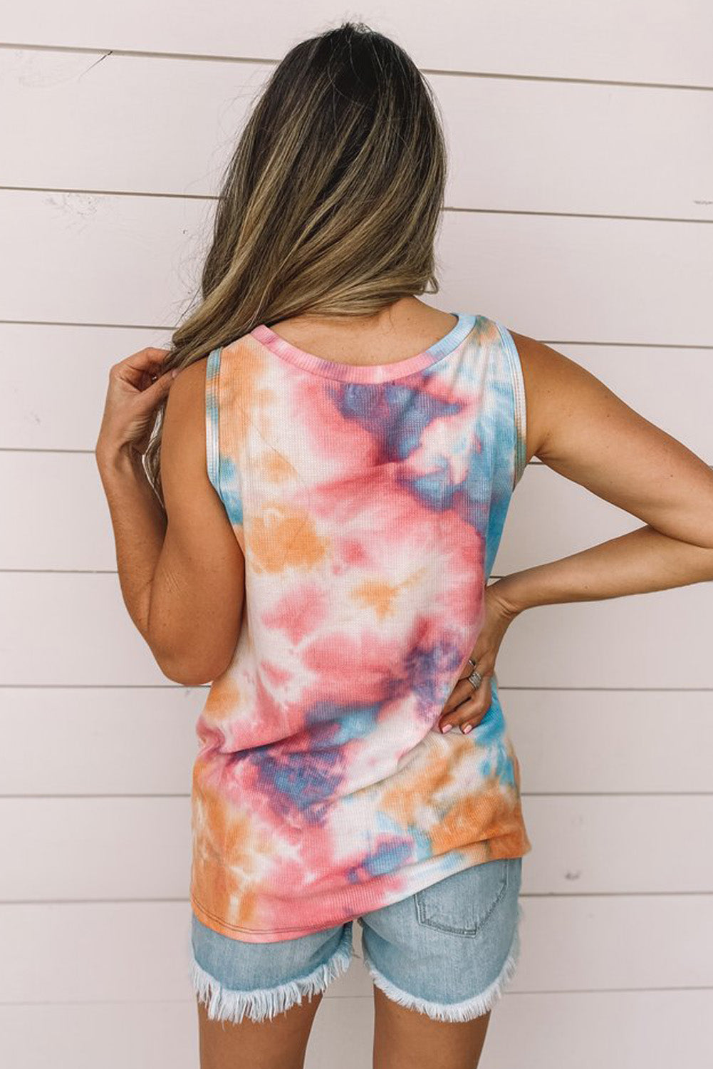 Multi Color Tie Dye Twist Detail Tank Top     Small to 2 XL