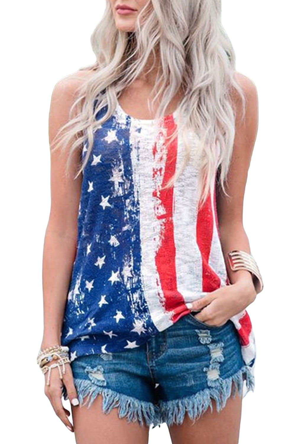 Stripes Star American Flag Print Tank Top    Small to 2 XL