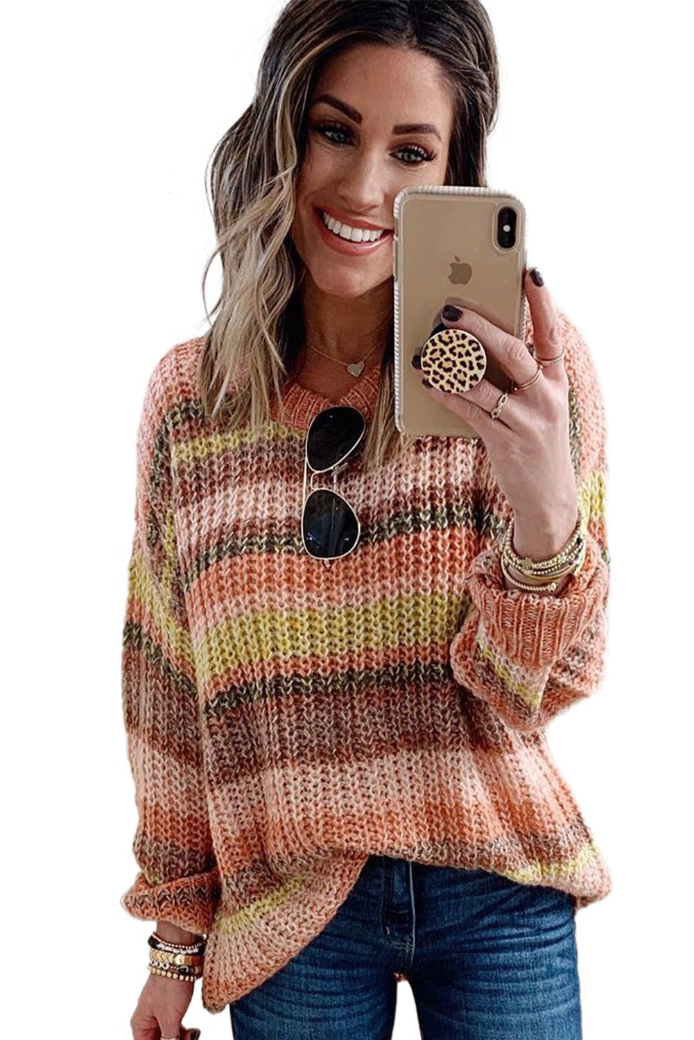 Orange Striped Color Block Chunky Sweater        Small to 2 XL
