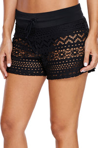 Black Lace Shorts with Attached Swim Bottom    Small to 3 XL