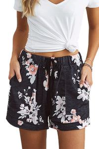 Black Floral Print Drawstring Casual Elastic Waist Pocketed Shorts