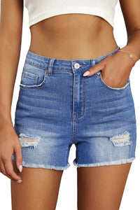 Sky Blue High Waist Frayed Denim Shorts