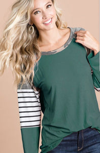 Jersey Knit top with camouflage and stripe sleeve block