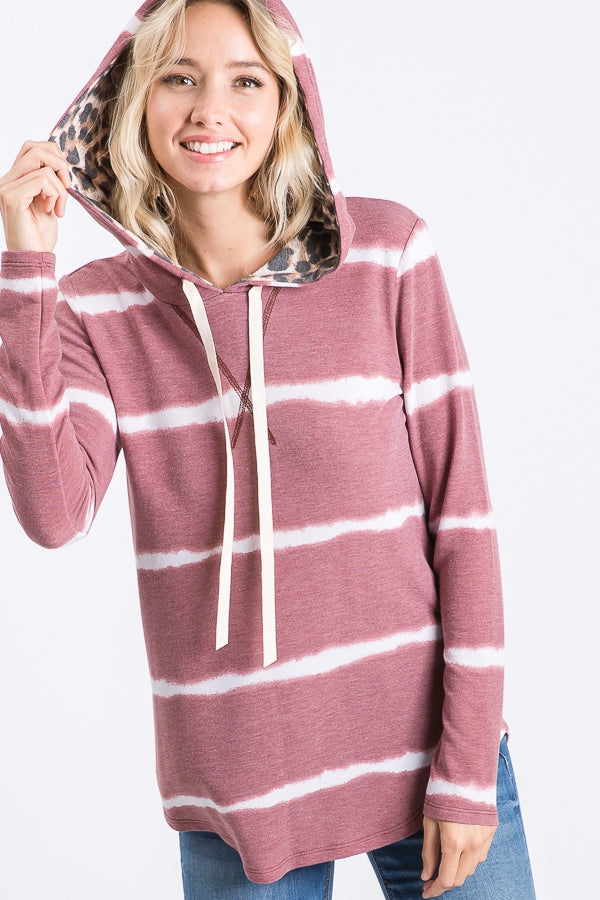 Tie Dye Hooded Sweater   Animal Print inside hood