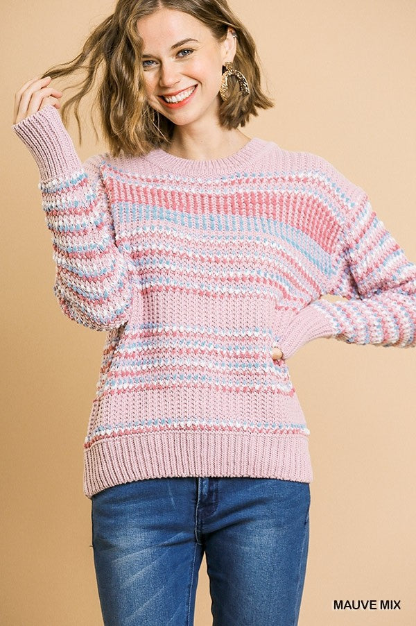 Long Sleeve Multicolored Stripe Knit Pullover Sweater