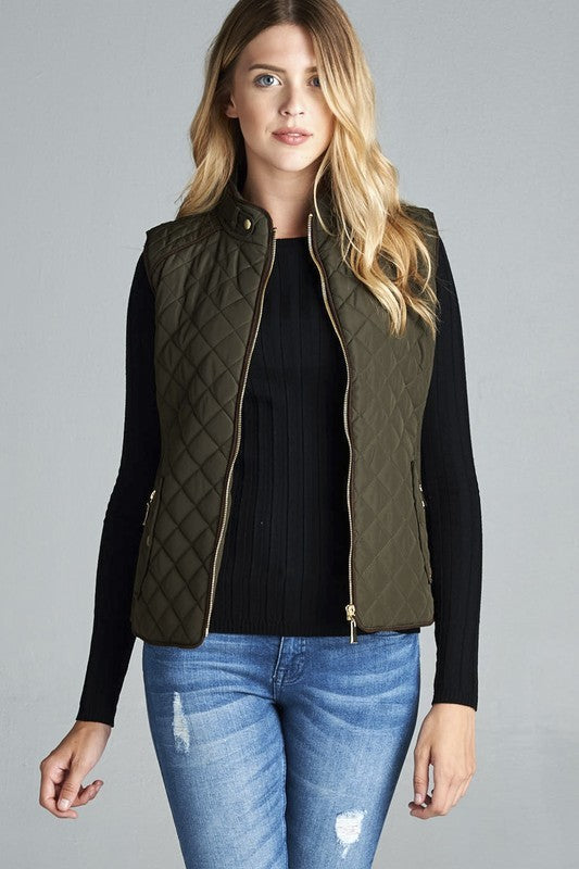 Olive Quitted Padding zip up Pocket Vest