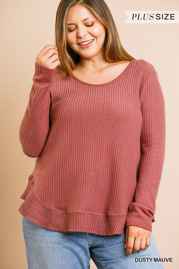 Plus Size Waffle Knit Long Sleeve Top