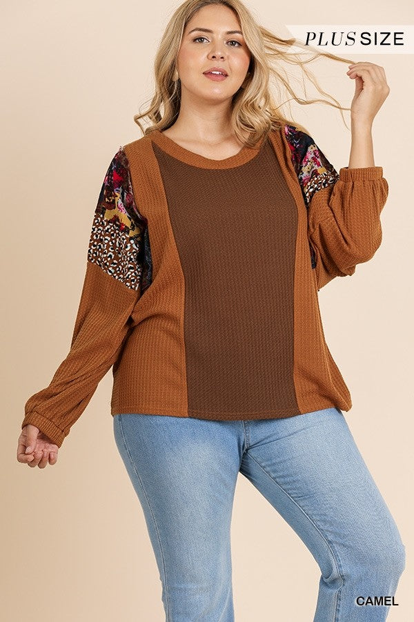 Plus Size Camel Colored Long Puff Sleeve Mixed Print Waffle Knit Top