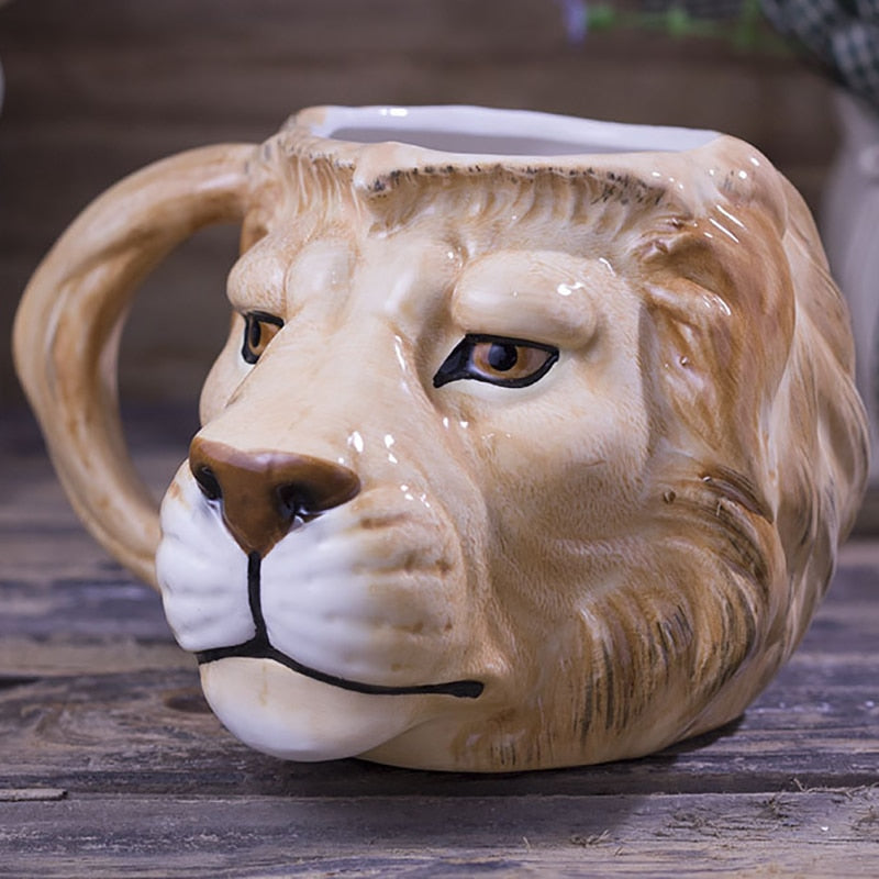 Hand Painted 3D Lion Coffee Cup