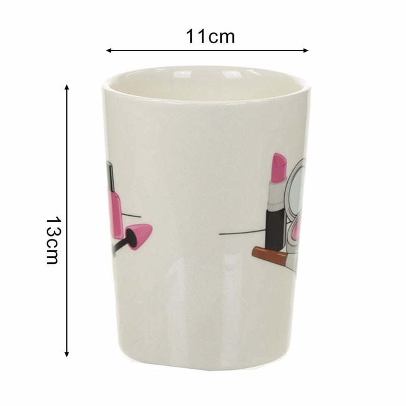 3D Hand Painted Creative Ceramic Mugs Girl Tools Beauty Kit Specials Nail Polish Handle Tea Coffee Mug Cup Personalized Mugs F