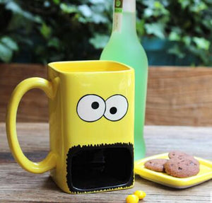 Colorful cartoon cup with cookie dish