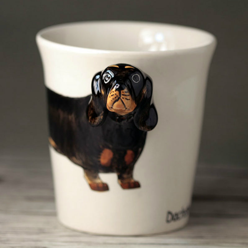 Hand Drawn Black Dachshund 3D Cup