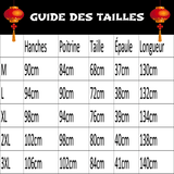 Robe Chinoise Reflets Bordeaux guide des tailles
