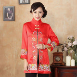Veste Chinoise Femme Tang rouge