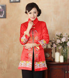 Veste Chinoise Femme Tang rouge classe