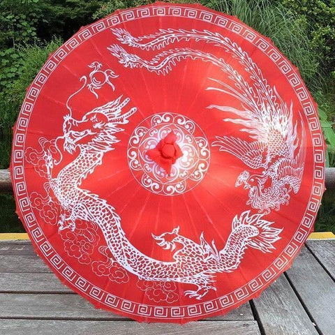 Ombrelle Chinoise Animaux Fantastiques rouge