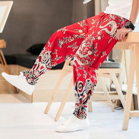 Pantalon Chinois Motif Dragon