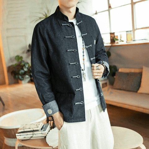 Veste Chinoise Homme Unie