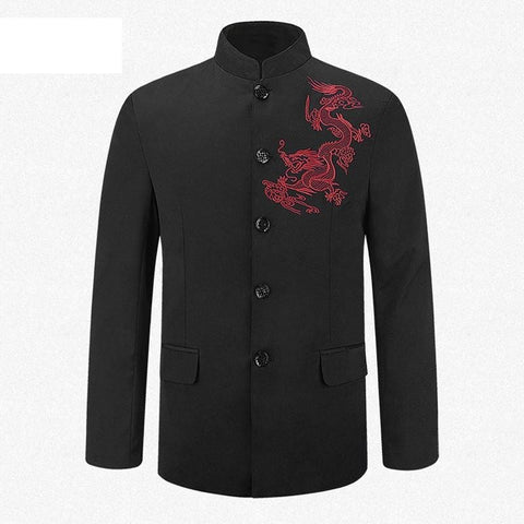 Veste Chinoise Homme Dragon Rouge