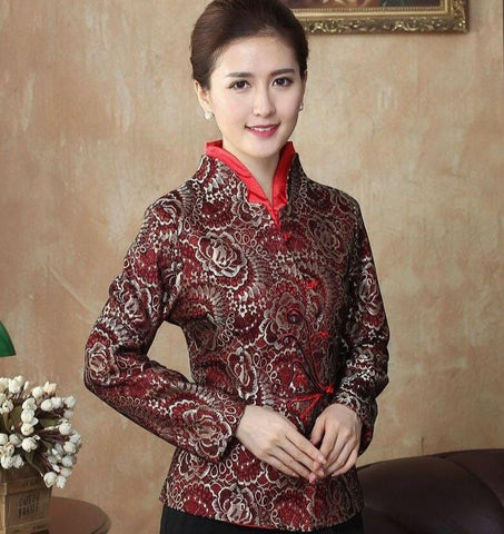 Veste Chinoise Femme Double Col rouge